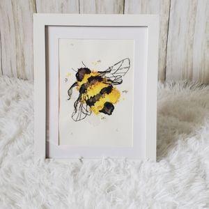 Watercolor, honey bee, hive, minimalist, hygge